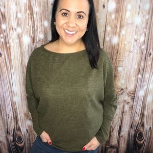 Viamor Soft Textured Sweater Top Olive